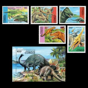 dinosaurs on stamps of Congo 1993