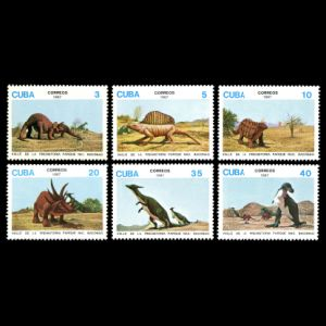 dinosaurs of Bacanao National Park on stamps of Cuba 1987