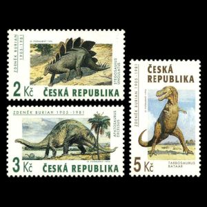 dinosaurs on stamps of Czech 1994