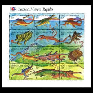 Dinosaurs on stamps of Turkey Turks and Caicos islands 1995