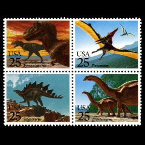 prehistoric animals, dinosaurs on stamps of USA 1989