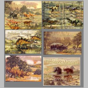 Prehistoric animals on stamps of Antigua 2005