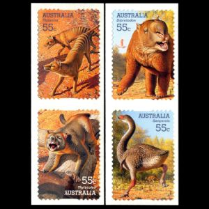 Prehistoric animals, mega fauna on self-adhesive stamps of Australia 2008
