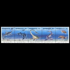 prehistoric marine reptilies on stamps of Barbados 1993