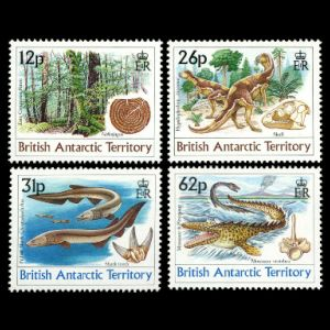 Prehistoric animals, plants and their fossils stamps of British Antarctic Territory 1991