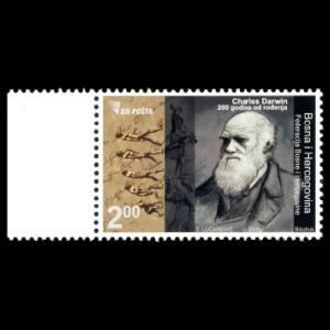 Charles darwin on stamps of Bosnia from 2009