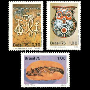 Fossil of prehistoric fish animals on stamp of Brazil 1975