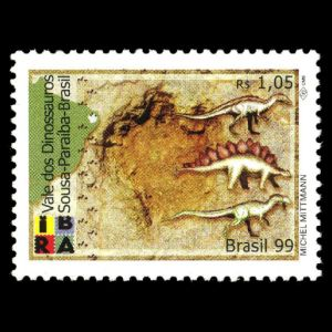 Dinosaurs and their footprint on stamps of Brazil 1999