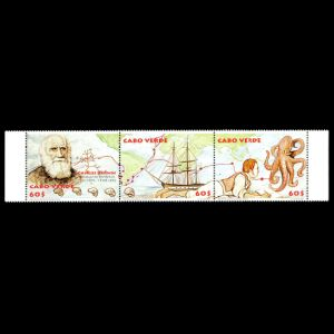 Charles darwin on stamps of Cabo Verde from 2009
