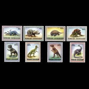 Dinosaurs on stamps of Central African Republic (CAR) 1988