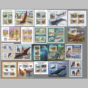 Prehistoric animals on stamps of Central African Republic 2021