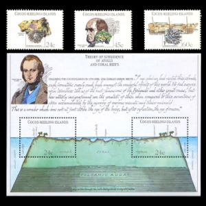 Charles Darwin on stamps of Cocos island 1981