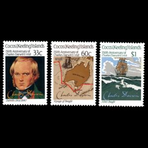Charles Darwin on stamps of Cocos island 1986