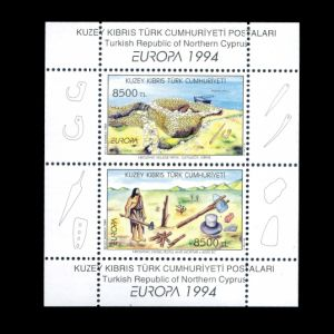 Prehistoric humans on Archaeological Discoveries stamps of Northern Cyprus 1994