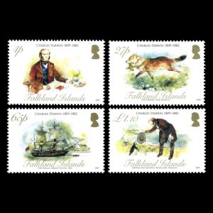 stamps shows Darwin's visit on Falkland Islands