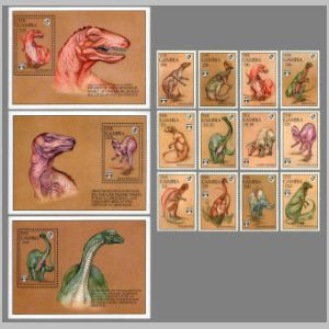 Dinosaurs on stamps of Gambia 1992