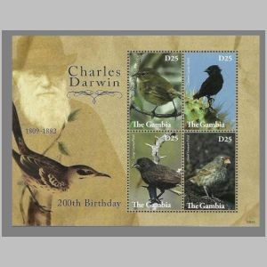 Charles Darwin on stamps of Gambia 2009