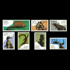 prehistoric animals, dinosaurs on stamps of Guinea Bissau 1989