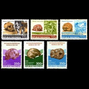 Prehistoric humans on stamps of Indonesia 1989