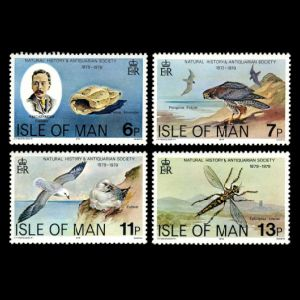 naturalist P.M.C.Kermode and shell fossil on stamp of Isle of Man 1979