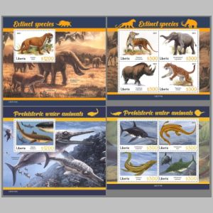Dinosaurs and other prehistoric animals on stamps of Liberia 2021