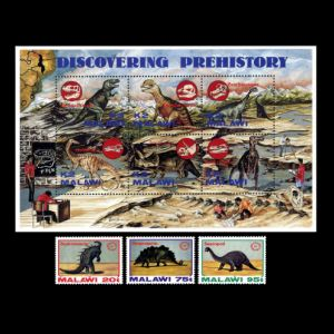 Dinosaurs and paleontologists at work on stamp of Malawi 1993