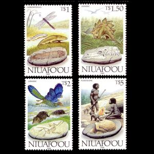prehistoric animals, dinosaurs , life evolution on stamps of Niuafoou 1989