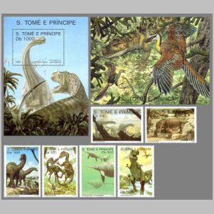 dinosaurs on stamps of Sao Tome 1993