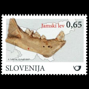 Cave Lion fossil on stamp of Slovenia 2017