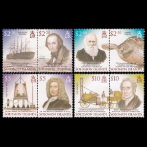 Charles Darwin among other famous personalities on stamps of Solomon islands 2006