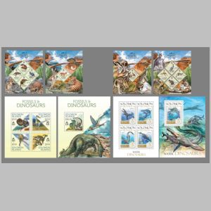 Dinosaurs and other prehistoric animals on stamps of Solomon islands 2013