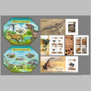 Dinosaurs and other prehistoric animals on stamps of Solomon islands 2014