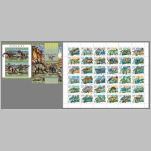 Dinosaurs on stamps of Solomon islands 2016