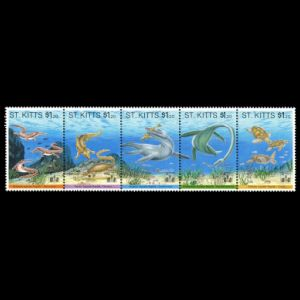 Prehistoric marine reptile on stamps of St Kitts 1994