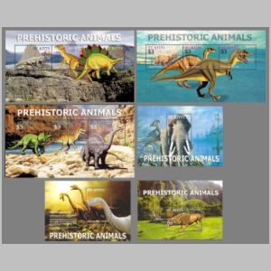 Prehistoric animals on stamps of St Kitts 2005