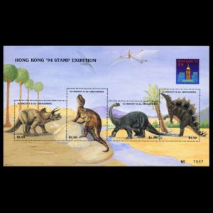 dinosaurs on stamps of St Vincent 1994