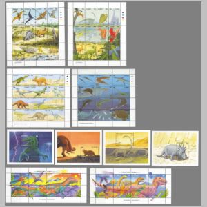 prehistoric animals and dinosaurs on stamps of St Vincent 1994