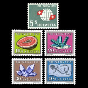 fossil and minerals on Propatia stamps of Switzerland 1959