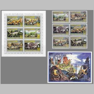dinosaurs on stamps of Togo 1994